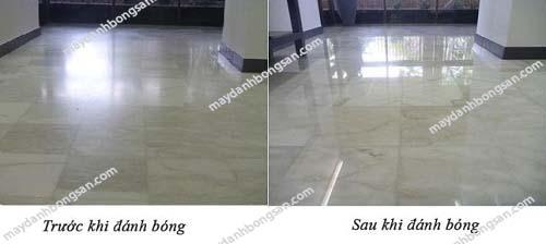 Mặt sàn được bóng lên rõ rệt sau khi đánh bóng
